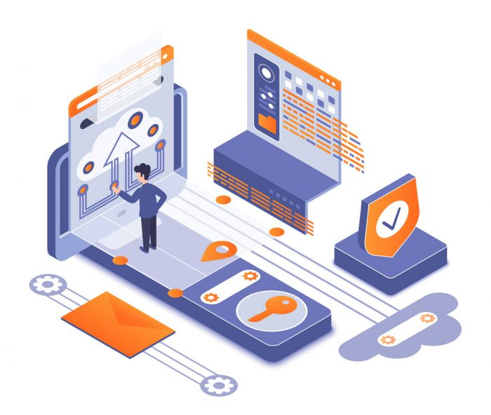 Network security isometric vector illustration